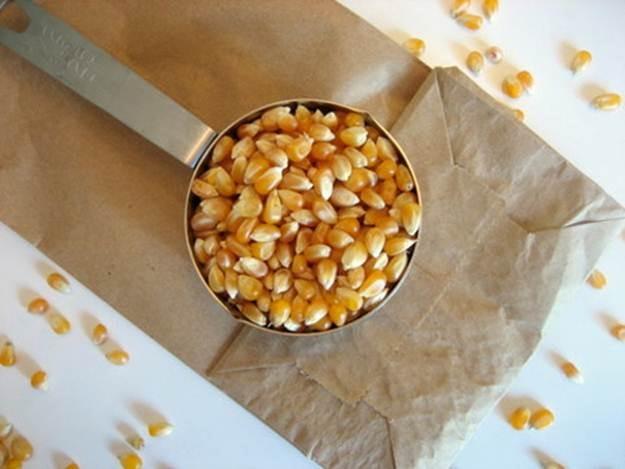 pop corn in brown paper bag