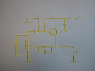 A three-dimensional graphic of a circuit diagram extruded on a braille paper.