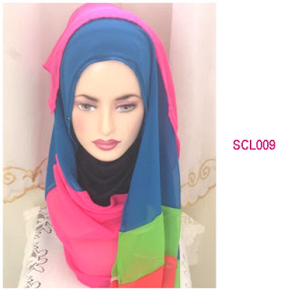 shawl chiffon 4 layer biru