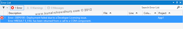 Windows 8 Developer License - Deployment Failed due to Developer License Issue