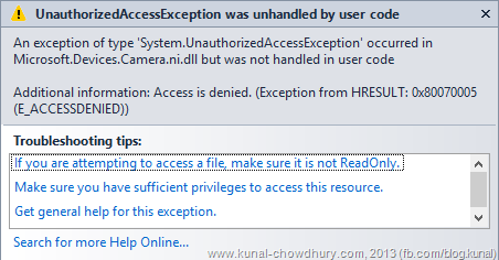 UnauthorizedAccessException when accessing Camera APIs in Windows Phone