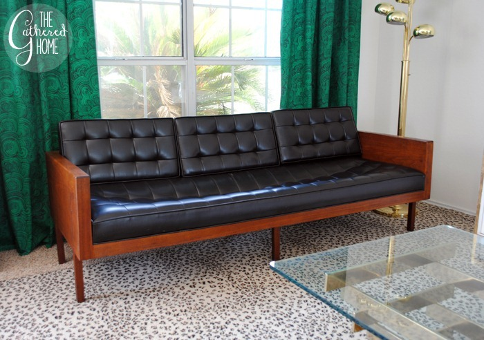 found vintage midcentury wood case sofa6