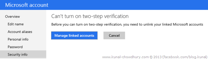 3. Unlink your accounts before turning on the two-step authentication