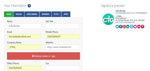 Chữ ký email HTML