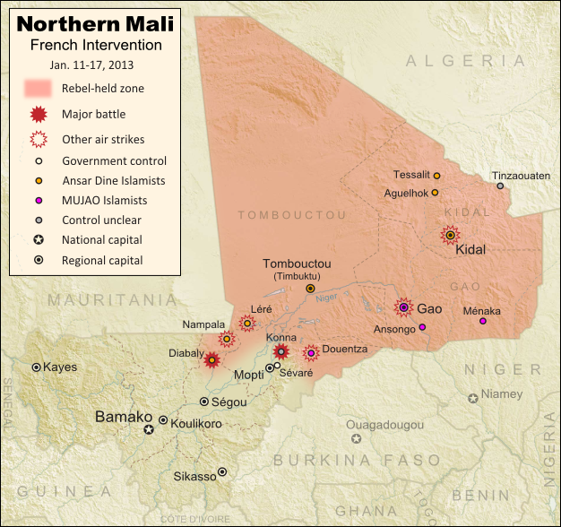 Map of fighting and territorial control in Mali during the January 2013 French intervention against the Islamist forces of Ansar Dine and MUJAO