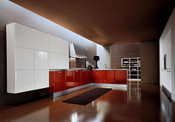 Diseños de cocinas modernas de color rojo - iDecorar