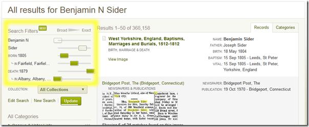 Ancestry.com.新的搜索过滤器