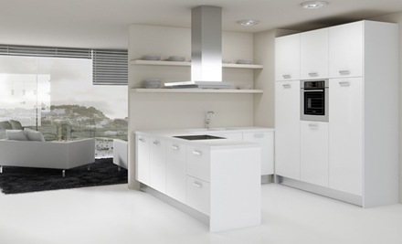 cocina-blanca-minimalista Cocinas modernas blancas isla y campana