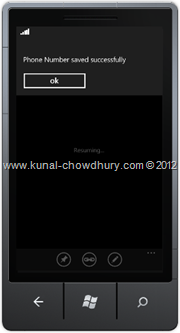 Screenshot 7 : How to Save Phone Number in WP7 using the SavePhoneNumberTask?