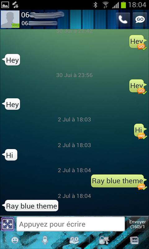 Go Sms Ray blue theme - screenshot