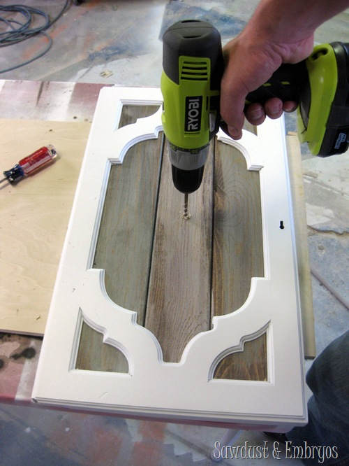 Drilling Holes for Buffet Hardware {Sawdust and Embryos}