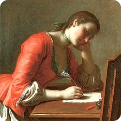 Pietro Rotari, Young Girl Writing a Love Letter, 1755