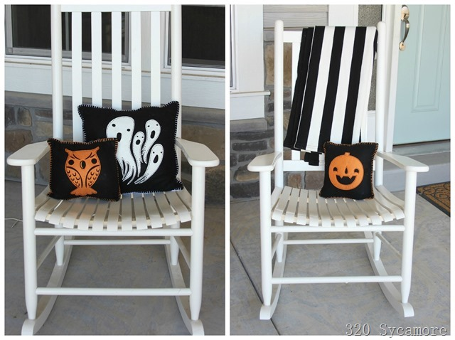 halloween pillows on rockers