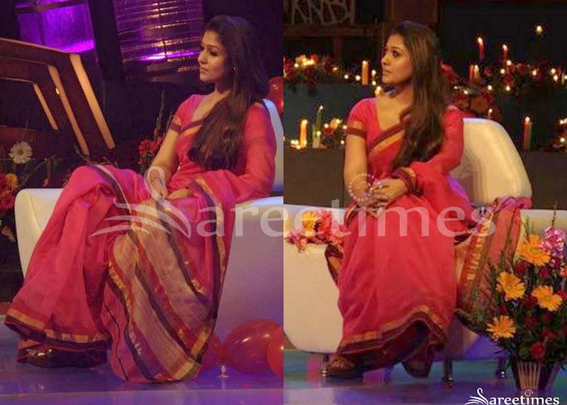 efd4411bb8e38 Nayanthara Chanderi Saree. South Indian actress Nayanthara in beautiful  pink designer chanderi silk saree ...