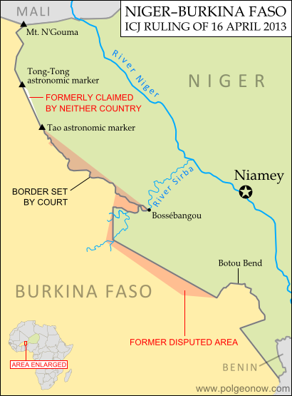 Map of the disputed territory between Niger and Burkina Faso, which was divided between the two countries in an April 2013 ruling by the International Court of Justice