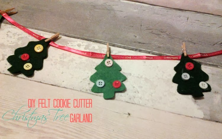 DIY felt cookie cutter christmas tree garland