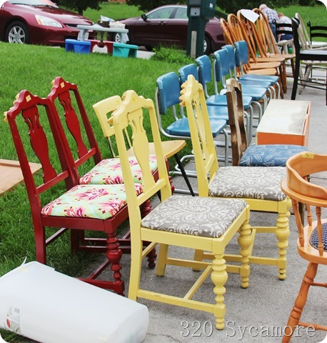 chairs at yard sale