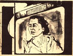 One of the illustrations by Dick Francis accompanying the original publication in Galaxy magazine of short story Time in Advance by William Tenn. Image shows the videophone with the protagonists ex-wife making a confession on display screen.