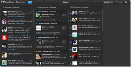 Conta no TweetDeck