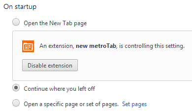 Chrome 37 settings controlled by third-party extension