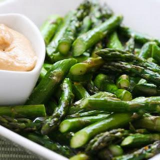 Roasted Asparagus with Creamy Tahini-Peanut Dipping Sauce