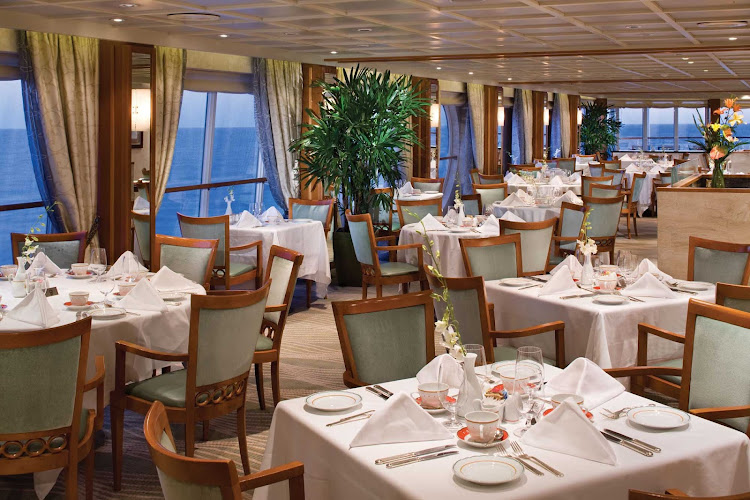 You'll appreciate the view from your table in the spacious La Veranda restaurant while sailing the waters on board Seven Seas Voyager.