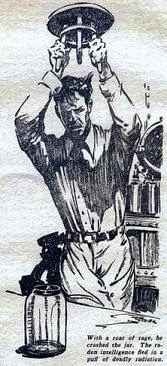 One of the illustrations by Kramer accompanying the original publication in Astounding magazine of short story Tools by Clifford D Simak. Image shows the human researcher, tricked by bottled gaseous alien, releasing it.