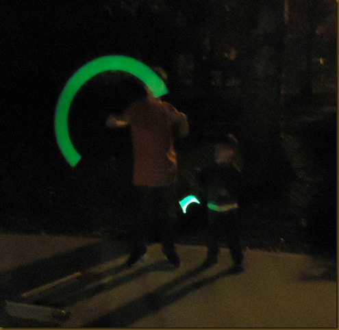 Joe and Aidan with glo sticks