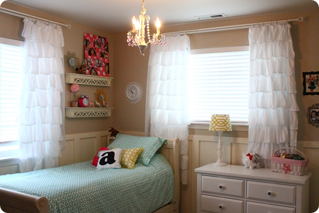 ruffled curtains in girl's room