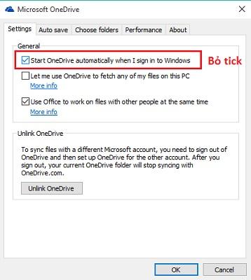 Không cho OneDrive khởi động cùng Windows