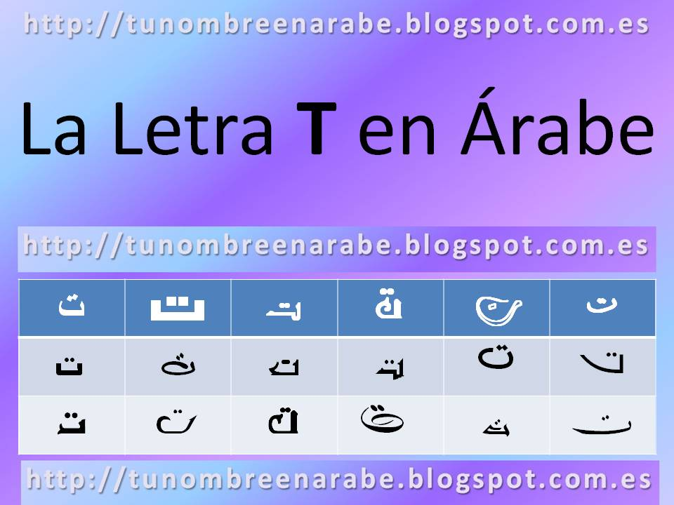 La letra T escrita en árabe para tatuajes