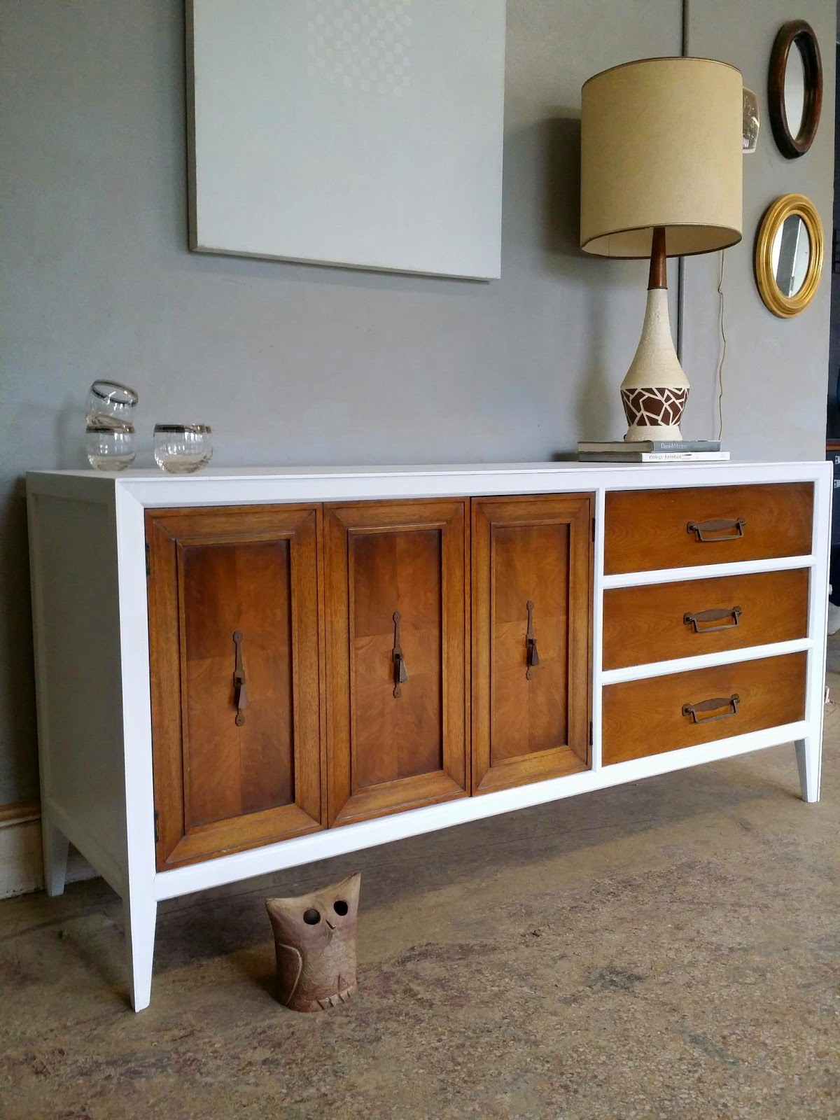Vintage Ground Mid Century White Wood Credenza Media