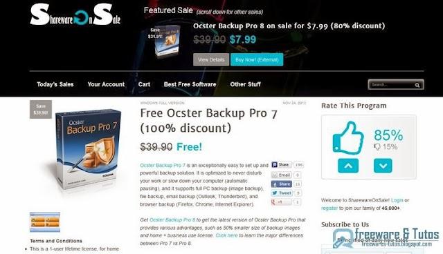 Offre promotionnelle : Ocster Backup Pro 7 gratuit ! (3ème édition)