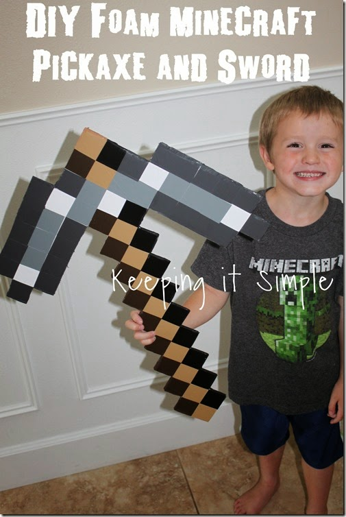 DIY-Foam-Minecraft-Pickaxe-and-Sword