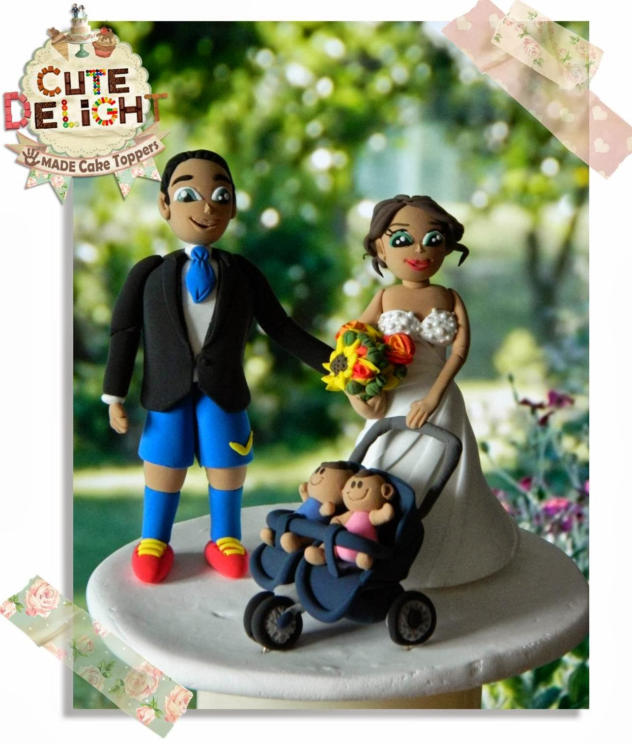 Wedding Cake Topper Custom Made Bride With Twin Babies Stroller And Soccer Fan Groom