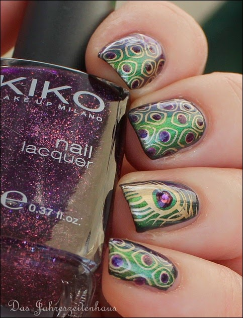 Peacock Nails Stamping Pfauenfeder 7
