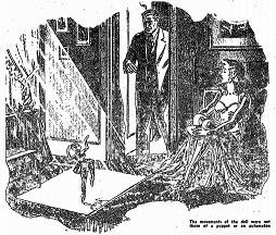 Illustration accompanying the original publication in Startling Stories of short story The Dark Angel by Henry Kuttner and C L Moore. Image shows the superwoman animating a doll to test her newly discovered supernatural abilities when her husband spied it.