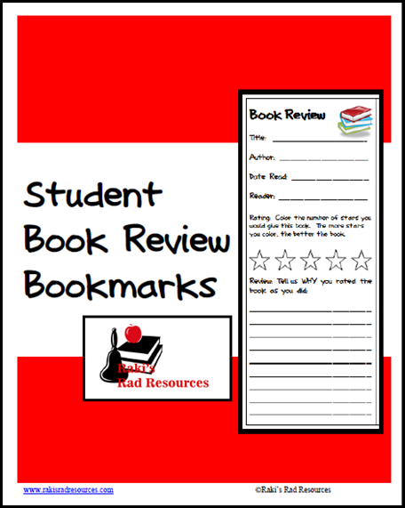 Free download - book review bookmarks from Raki's Rad Resources.