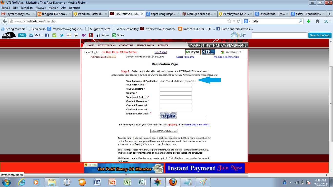 Form UTS Profit Ads