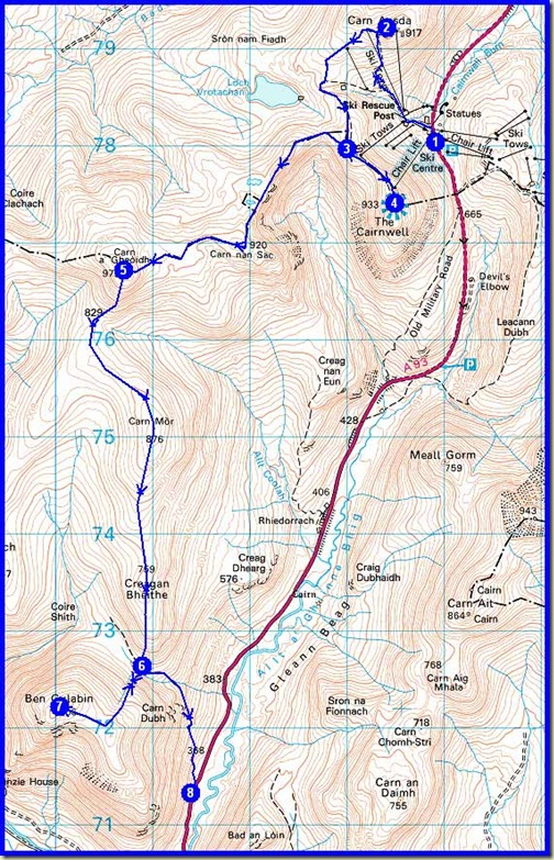 Sunday's route - 18km, 800m ascent, 5.75 hours