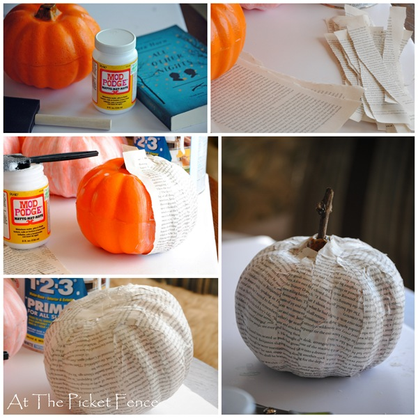 How to make a Dollar Store Book Page Pumpkin Tutorial