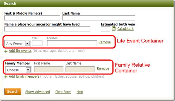 这Ancestry.com simple search form
