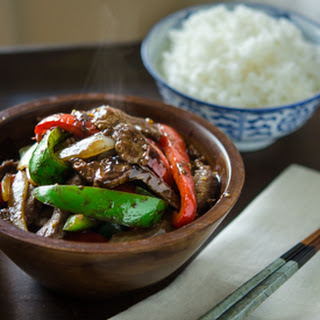 Beef and Peppers Stir-fry in Black Bean Sauce.
