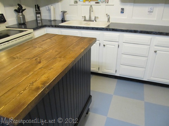 DIY Black Kitchen Island Made from a Desk