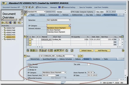 Down Payment Processing in Purchase Order–LOG_MMFI_P2P | SAP