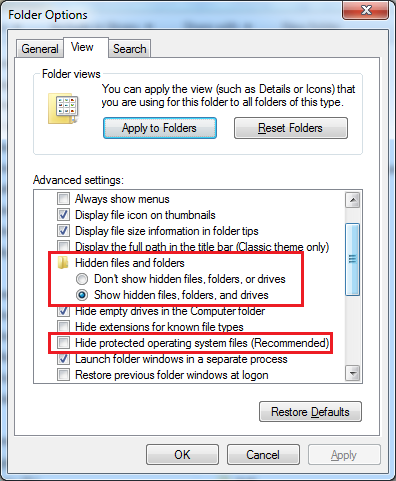 How to show up hidden system folders