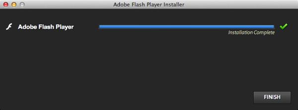Adobe flash installation complete