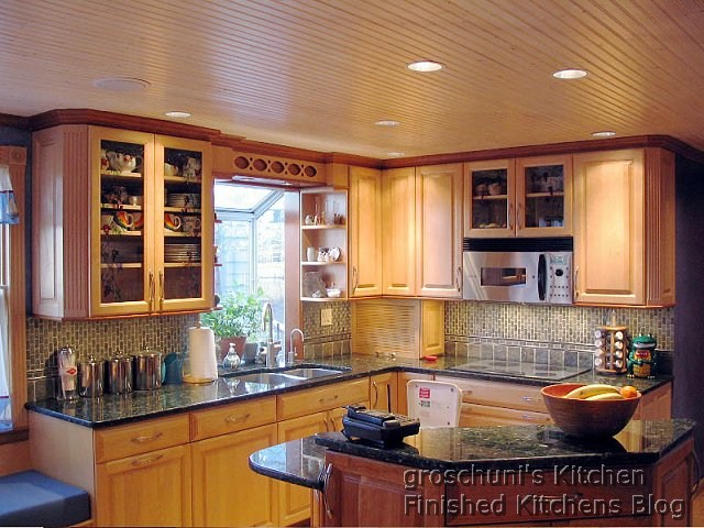 Natural Maple Cabinets With Verde Erfly Countertops