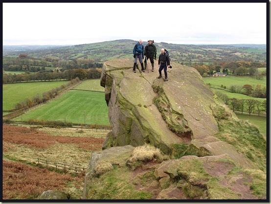 Martin, Allan and Roger brave the gale on top of Hanging Stone