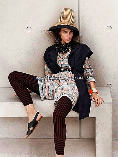 Marni H&M Silk Printed Blouse, Black Vest, Necklace Chunky White Orange Bracelets, Hat,  Stripe leggings, Black Leather Sandal, hat